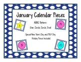 January Calendar Pieces with Patterns and Shapes