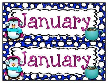 January Calendar Set Freebie