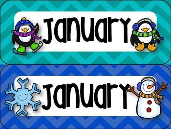 January Calendar Set in Chevron