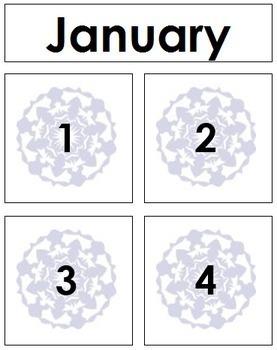 January Calendar Tags