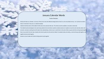 January Calendar & Daily Vocabulary