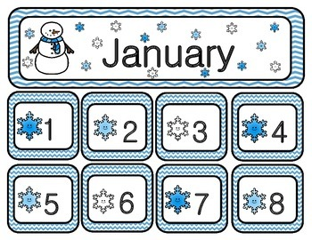 January Chevron Calendar Set