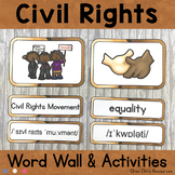 January - Civil Rights  - Word Wall Words and Puzzle Activ