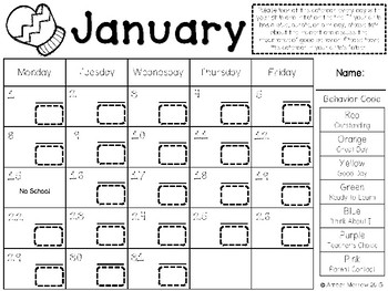 January Clip Chart Behavior Calendar
