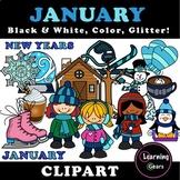January Clipart - Black & White, Color, Glitter!
