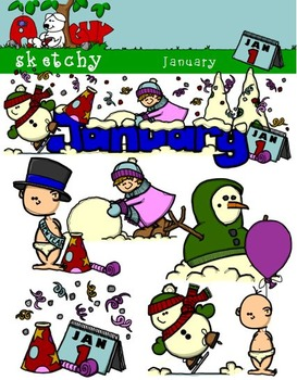 January Clipart / Graphics and Monthly Header