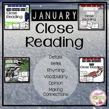 January Close Reading Bundle: 4 packs in 1