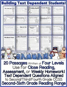 January Close Reading Passages w/ Tdq's {20 Passages: 4 Levels}