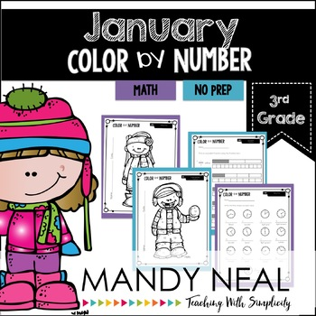January Color By Number for 3rd Grade Math