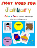 January Color-a-box Sight Word fun for Grades K, 1, 2