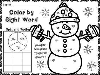 January Color by Sight Word