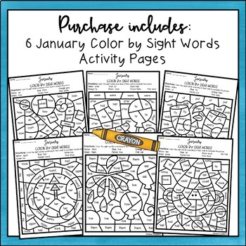 January Color by Sight Words