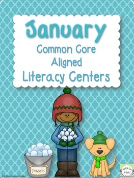 January Common Core Aligned Literacy Centers for First Grade