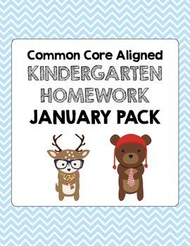 January Common Core Kindergarten Homework