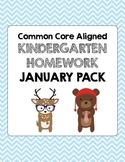 January Common Core Kindergarten Homework