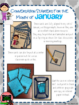 January Conversation Starters, Morning Meeting Ideas, Quick Writes, and More