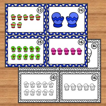 January and Winter Counting Task Cards for Kindergarten and 1st Grade