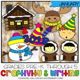 January Craftivity With Writing - 7 PRINT AND GO CRAFTS!