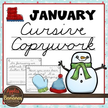January Cursive Copywork - Cursive Handwriting Practice