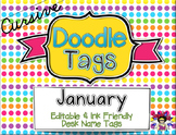 January Cursive Doodle Tags - Ink Friendly Editable Desk Name Tags