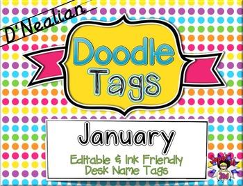 January D'Nealian Doodle Tags - Ink Friendly Editable Desk Name Tags