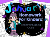 Homework: Kindergarten January Daily Core Packet (Differentiated Winter)