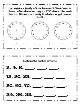 January Daily Math Journal