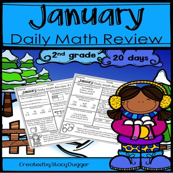 January Daily Math Review for 2nd Grade
