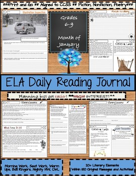 January Daily Morning Work ELA Bell Ringer for Middle School