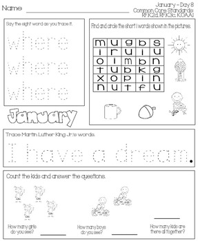 January Daily Work for Kindergarten Common Core (And More!) NO PREP Packet