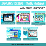 January Digital Math Stations l Task Cards | Boom Cards™