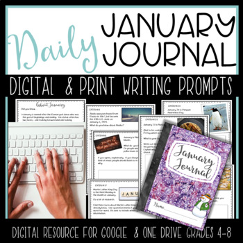 January Digital Writing Journal for  Google Drive or OneDrive