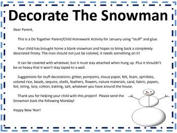 Snowman Do Together Parent/Child Homework Activity