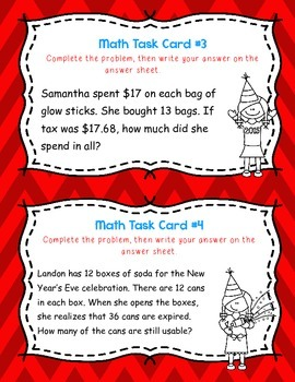 January Double Digit times Double Digit Multiplication Word Problem Task Cards