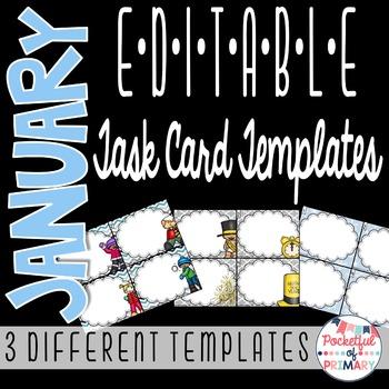 January EDITABLE Task Card TEMPLATES