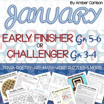 January Early Finisher (Grades 5-6) or Challenger (Grades 3-4) Packet