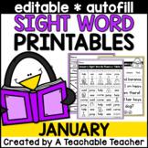 January Editable Sight Word Printables