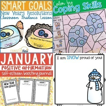 Winter Counseling Activities: January School Counseling Resource Bundle