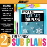 January Emergency Sub Plans for 2nd grade - Snow themed activities & lessons