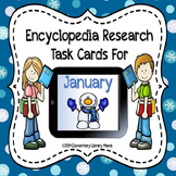 January Encyclopedia Research Task Cards with Self-Checkin