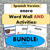 January / Enero Word Wall Cards AND Activities! SPANISH version