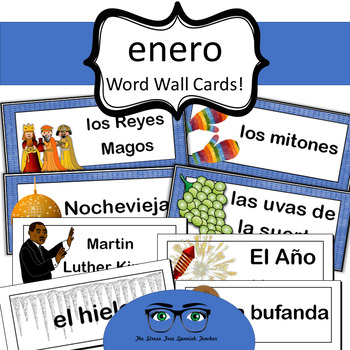 January / Enero Word Wall Cards! Spanish version