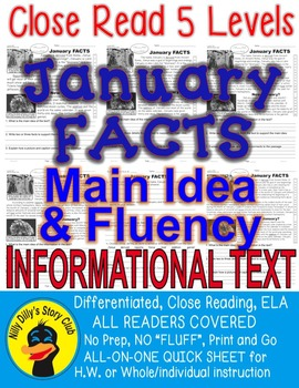 January FACTS Close Read 5 levels Informational Text ALL-READERS-COVERED!
