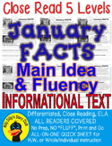"""January FUN FACTS"" Close Read 5 Leveled Passages ALL-READERS-COVERED!"