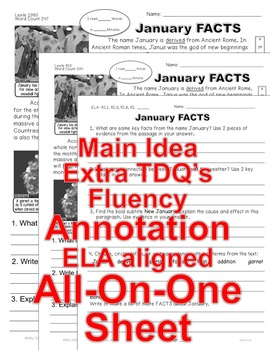 """""""January FUN FACTS"""" Close Read 5 Leveled Passages ALL-READERS-COVERED!"""