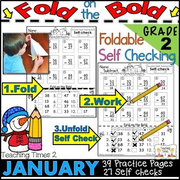 January FOLD ON THE BOLD (2nd Grade) Self Checking Math and Literacy Packet