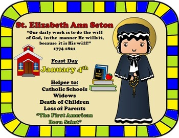January Feast Day Catholic Saint Poster - Saint Elizabeth Ann Seton