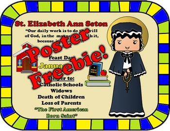 January Feast Day Catholic Saint Poster - Saint Elizabeth
