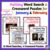 January & February Holidays: Word Search & Crossword Puzzl