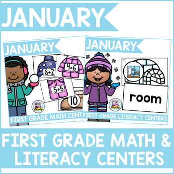 January First Grade Literacy and Math Centers